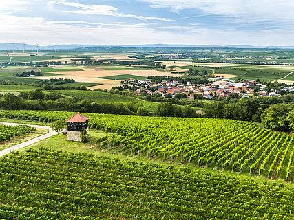 Bornheimer Turm mit Blick auf Flonheim auf der Hiwweltour Aulheimer Tal, Rheinhessen