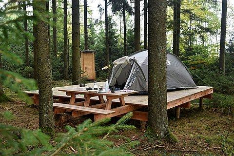 Holzplattform und Zelt im Trekkingcamp Naturpark Hohes Venn, Eifel